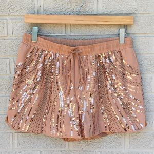 ark & co. Sequin & Bead Drawstring Waist Shorts
